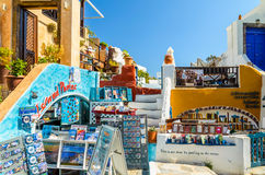 Traditional Santorini's buildings and souvenir shop Royalty Free Stock Images