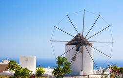 Traditional Santorini windmill Stock Photos
