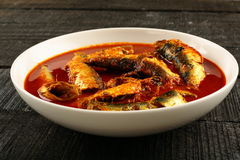 Traditional sardine fish curry. In spicy sauce ,from Indian cuisine Stock Photos