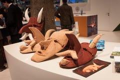 Traditional Sardinian masks on display at Bit 2014, international tourism exchange in Milan, Italy Stock Image