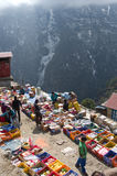 Traditional Saturday market  in  Namche Bazar, Nepal Stock Photos