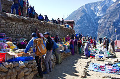 Traditional Saturday market  in  Namche Bazar, Nepal Royalty Free Stock Photography