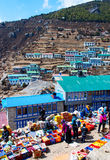 Traditional Saturday market  in  Namche Bazar Royalty Free Stock Image
