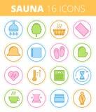 Sauna, steam bath and spa colored vector outline icon set. Traditional sauna, steam bath and spa outline icon set. Wash and swelter equipment and accessories Stock Image