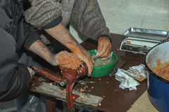 Traditional sausage making 2 Stock Images