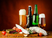 Traditional sausages and beer Royalty Free Stock Photography