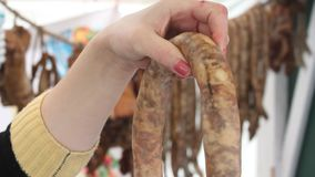 Traditional sausages stock video footage