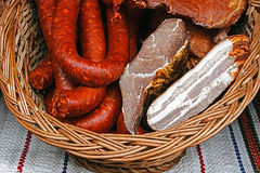 Traditional sausages placed in a wicker basket-2 Royalty Free Stock Photography