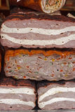 Traditional sausages specialty overlapping Royalty Free Stock Image