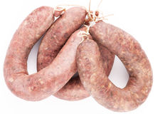 3 sausages on white background. Three traditional Bulgarian's sausages on white background Stock Photography