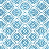 Traditional scandinavian pattern. Nordic ethnic seamless background. Textures in blue and white colors. Vector illustration. Can use for warm clothes design Royalty Free Stock Photos