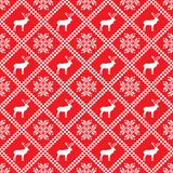 Traditional scandinavian pattern. Nordic ethnic seamless background. Textures in red and white colors. Vector illustration. Can use for warm clothes design Stock Images