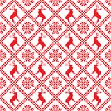 Traditional scandinavian pattern. Nordic ethnic seamless background. Textures in red and white colors. Vector illustration. Can use for warm clothes design Royalty Free Stock Images