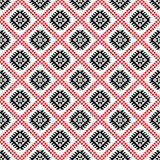 Traditional scandinavian pattern. Nordic ethnic seamless background. Textures in red, black and white colors. Vector illustration. Can use for warm clothes Royalty Free Stock Photography