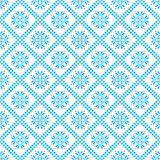 Traditional scandinavian pattern. Nordic ethnic seamless background. Textures in blue and white colors. Vector illustration. Can use for warm clothes design Stock Photo