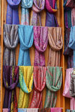 Traditional scarves in the market. Royalty Free Stock Photos