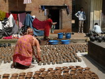 Traditional scene from a nepalese neighborhood. Stock Image