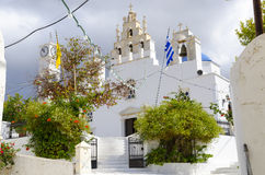 Traditional scenic church at Naxos island in Greece Royalty Free Stock Images