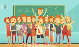 Traditional School Education Retro Cartoon Poster Royalty Free Stock Images