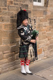 Traditional Scottish bagpiper wearing kilt