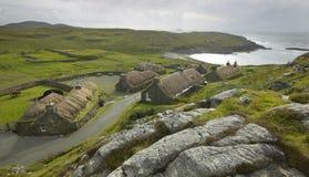Traditional scottish black houses. Garenin. Lewis isle. UK Royalty Free Stock Image
