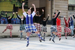 Traditional Scottish dancers Edinburgh Tattoo. Traditional Scottish dancers exhibition at Edinburgh Military Tattoo and Fringe Festival stock photos