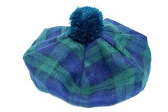 Traditional Scottish Green Tartan Bonnet. Stock Photo
