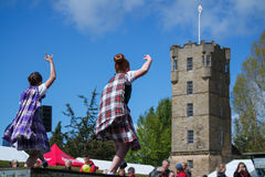 Traditional scottish Highland dancing in kilts stock photo