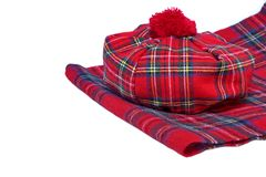 Traditional Scottish Red Tartan Bonnet and Scarf Stock Photography