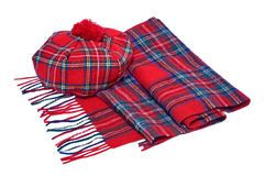 Traditional Scottish Red Tartan Bonnet and Scarf. Men headgear and neckwear Isolated on white Background Stock Photos