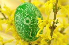 Traditional scratched handmade Easter egg Stock Photo