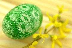 Traditional scratched handmade Easter egg Stock Images