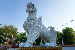 Traditional sculture. Sculpture of Thai Traditional Lion in a temple Royalty Free Stock Photography