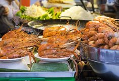 Traditional sea food in the street of Thailand.  stock photography