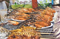 Traditional sea food in the street of Thailand.  stock photo