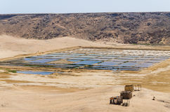 Traditional sea salt farming in square pools at Angola`s coast. Traditional sea salt farming in square pools at Angola`s Namib Desert coast line Royalty Free Stock Images