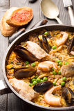 Traditional seafood paella in the pan Stock Image