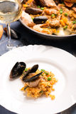 Traditional seafood paella in the pan Royalty Free Stock Photography