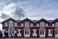 Traditional seafood restaurants on Skagen harbor, Denmark stock photo