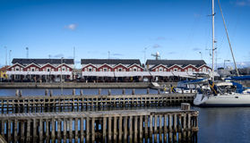 Traditional seafood restaurants on Skagen harbor, Denmark Stock Images