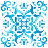 Traditional Seamless Mediterranean Ornament. Tile Pattern in Majolica Style. Blue Colors on White. Vector Illustration vector illustration