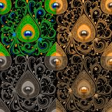 Traditional seamless paisley pattern with peacock feathers elements royalty free illustration