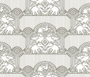 Traditional seamless wallpaper with elephant and peacock Stock Photography