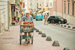 Traditional seller of Simit - turkish circular bread with sesame Royalty Free Stock Photos