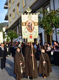 Spanish traditional Holy Week with religious fraternity processions. Viveiro, Spain, 19 Apr 2019. royalty free stock images