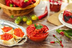 Traditional Serbian ajvar,tasty dish. In glass bowl with spoon stock image