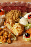 Traditional Serbian food plate with different kind of meals. Appetizer stock image