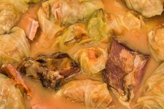 Traditional Serbian Gourmet Stuffed Pickled Cabbage Rolls Sarma Cooked With Aromatic Smoked Pork Ribs Ham And Bacon Detail stock photography