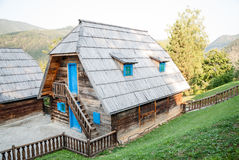 A traditional Serbian house. A traditional wooden house in Serbia stock image