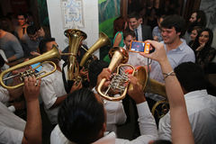 Traditional Serbian party with trumpeters Stock Photo